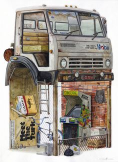 Watercolor Paintings of Imagined Trash Structures Packed With Advertising by Alvaro Naddeo | Colossal