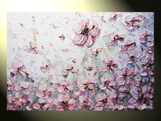 For Isabelle- Original Art Abstract Painting Pink Poppies. A great painting that will grow with her.
