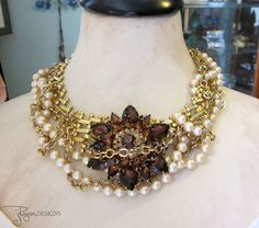 Repurposed Statement Necklace Pearls Rhinestone by jryendesigns, $184.00