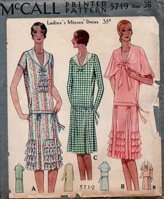 UNCUT Vintage 1920's McCALL Sewing Pattern 5719