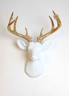 Deer Head Wall Mount The Xl Winston White Resin W Gold Glitter Antlers Stag Animal By Faux Taxidermy
