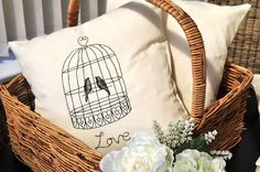 embroidered birdcage cushion by iredale towers   notonthehighstreet.com