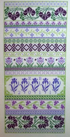 Floral and geometric band sampler