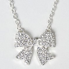 Lovely Bow Crystal and Silver Necklace
