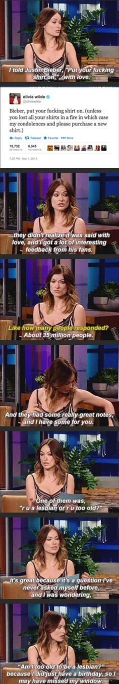 Olivia Wilde talking about Justin Bieber. Love it!