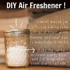 How easy is this! This DIY Air Freshener simply requires a mason jar and some baking soda, and its ready to diffuse your favorite aromatic essential oils throughout the room! ★facebook.com/purasentials★