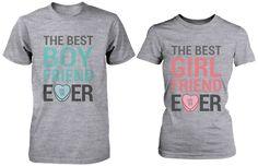 The Best Boyfriend & Girlfriend Ever Matching Couple Shirts in Grey (Set)