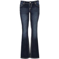 maurices Dark Wash Slim Boot Stretch Jeans featuring polyvore, fashion, clothing, jeans, pants, bottoms, dark sandblast, dark-wash jeans, mid rise bootcut jeans, blue jeans, dark jeans and slim jeans