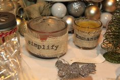 Easy burlap wrapped votives...you can print right on the burlap!