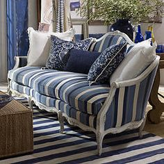 Ralph Lauren Antibes Sofa. How about stripes of soft lilac, soft sage & soft vanilla?