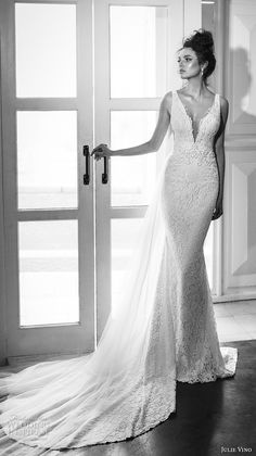 julie vino 2017 bridal sleeveless deep plunging v neck full embellishment elegant fit and flare wedding dress chapel train (1260) mv