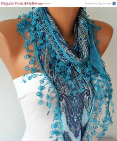 Women Shawl Scarf  Scarf  Cowl Scarf with Lace Edge    by fatwoman, $13.50