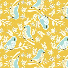 Graphic Parrots - Pattern designed by Emily Isabella