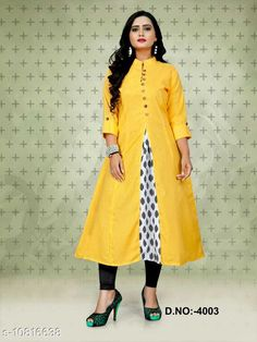 Checkout this latest Kurtis Product Name: *Women Cotton Jacket Kurta Solid Yellow Kurti* Fabric: Cotton Sleeve Length: Three-Quarter Sleeves Pattern: Solid Combo of: Single Sizes: M (Bust Size: 38 in, Size Length: 46 in)  L (Bust Size: 40 in, Size Length: 46 in)  XL (Bust Size: 42 in, Size Length: 46 in)  Country of Origin: India Easy Returns Available In Case Of Any Issue   Catalog Rating: ★4.2 (261)  Catalog Name: Women Cotton Jacket Kurta Solid Yellow Kurti CatalogID_1993110 C74-SC1001 Code: 573-10816638-039