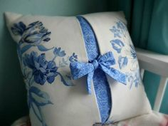 beautiful two-fabric pillow with bow