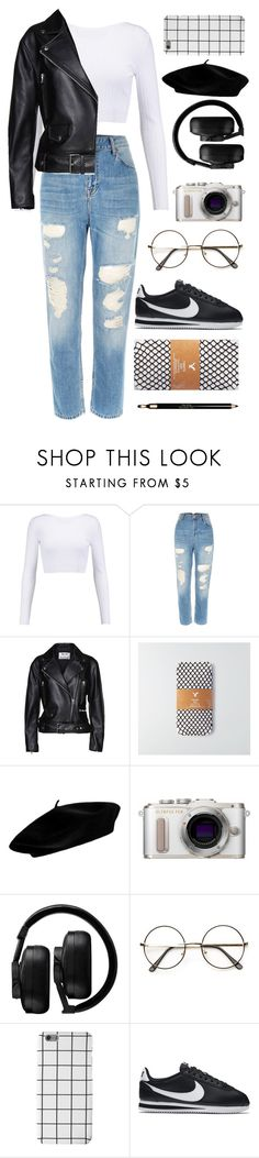 """""""I wish that I could be like the cool kids"""" by zagl ❤ liked on Polyvore featuring Cushnie Et Ochs, River Island, Acne Studios, American Eagle Outfitters, PL8, Master & Dynamic, NIKE and Clarins"""