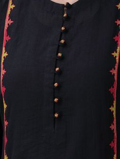 Black-Red Hand-Embroidered Cotton Mul Kurta with Slip (Set of Neck Designs For Suits, Sleeves Designs For Dresses, Neckline Designs, Dress Neck Designs, Blouse Designs, Kurti Embroidery Design, Embroidery Neck Designs, Embroidery Fashion, Embroidery Art