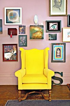 Styled gallery wall with yellow chair in Solange Azagury-Partridges home. - My Interior Design Ideas Wes Anderson Style, Austin Homes, Living Spaces, Living Room, Pink Walls, Mauve Walls, My New Room, Decoration, Interior Inspiration
