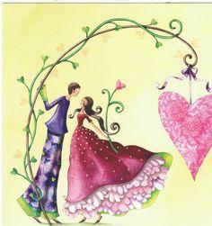 mila marquis art | Nina Shen : Le Couple d' Amoureux sous la branche de Coeur