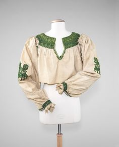 Blouse (image 1) | Spanish | late 19th century | linen, silk | Brooklyn Museum Costume Collection at The Metropolitan Museum of Art | Accession Number: 2009.300.2290
