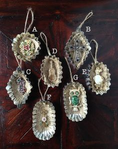 Vintage Jewelry Tart Tin Ornament by HomespunKarma on Etsy