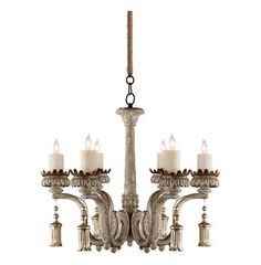 Melisande French Antique Gold Gray Wash 6 Light Carved Chandelier #Kathykuohome