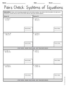 Pairs Check Activity - Solving Systems of Equations (Subst