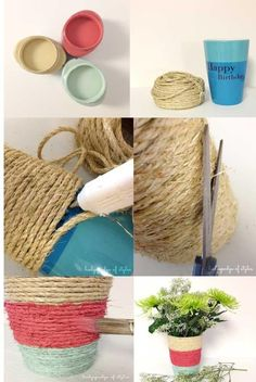 Ideas para decorar macetas by karyn Rope Crafts, Yarn Crafts, Diy And Crafts, Crafts For Kids, Arts And Crafts, Diy Projects To Try, Craft Projects, Deco Floral, Painted Pots