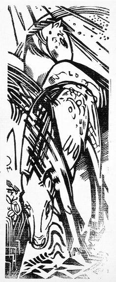 """Franz Marc, woodcut, """"Aus Der Tierlegende"""" (Legend Of The Animals) 1919"""