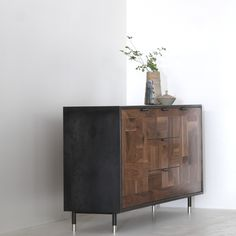 Patchwork Walnut Credenza in Blackened Steel Cabinet - kith&kin makers  - 2