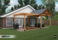 Create a space fit for sunny and rainy days, a pergola for sun and a pavilion fo. - Create a space fit for sunny and rainy days, a pergola for sun and a pavilion for cover. Outdoor Pergola, Outdoor Spaces, Pergola Ideas, Pergola Kits, Pergola Roof, Pergola Lighting, Cheap Pergola, Deck With Pergola, Patio Overhang Ideas