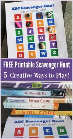 5 Scavenger Hunt Ideas for Kids with Free Printable - fun for preschoolers, big kids, tweens and teens! Idea for learning or party game options too! Printable Activities For Kids, Fun Worksheets, Kids Learning Activities, Summer Activities For Kids, Fun Learning, Games For Kids, Outdoor Learning, Early Learning, Free Printables