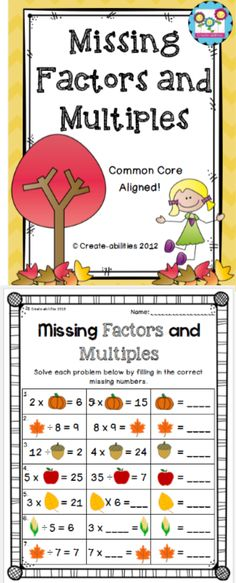 best factors and multiples images  prime numbers prime  missing factors and multiples perfect for the start of the school year