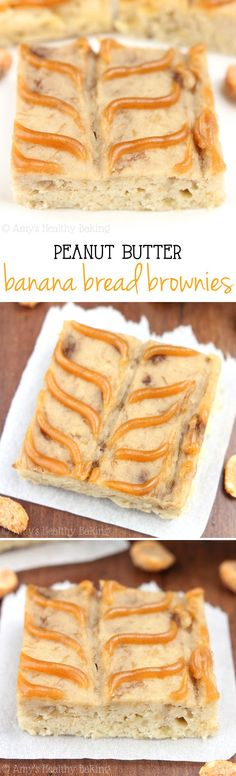 Peanut Butter Banana Bread Brownies -- SO addictive. Our new favorite treat! Sweet, clean-eating & only 80 calories!