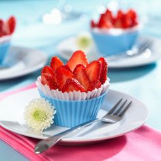 Strawberry cups (add other fruits and maybe powdered sugar) - healthy baby shower food
