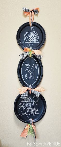 Dollar store platters and chalk board paint...genius!
