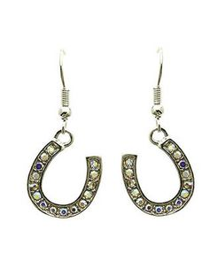 Silver Horse Shoe Studded Earrings from Helen's Jewels
