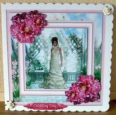beautiful bride mini kit on Craftsuprint designed by Cynthia Berridge - made by Cheryl French - Printed onto glossy photo paper. Attached base image to card stock using ds tape. Built up image with 1mm foam pads. Added 2 paper roses. Added insert using ds tape. - Now available for download!