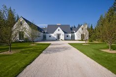 Front Elevation of Contemporary European Farmhouse in White Stucco Metal Roof - Transitional - Exterior - Chicago - by Orren Pickell Building Group Modern Farmhouse Exterior, Farmhouse Style, Beautiful Architecture, Architecture Details, Style At Home, Up House, Farm House, Gable House, House Design Photos