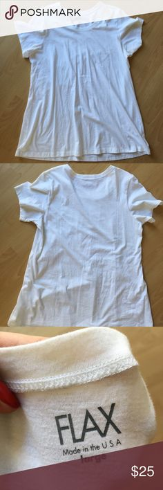 Flowy white flax cotton tee 100% cotton, flowy and long, almost tunic length. Flax makes SUPER good quality products. This shirt is like new, worn a handful of times. flax Tops Tunics