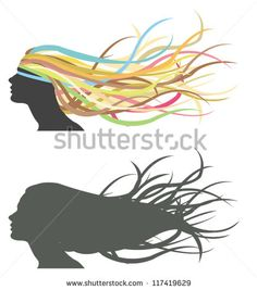 Fluttering hair on woman head dummy fashion cosmetic salon icon in isolated background. Silhouette and colorful version, create be vector