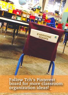 Three Ideas for Setting Up Your Classroom - Including these awesome chair pockets! Classroom Organisation, Teacher Organization, Classroom Setup, Classroom Design, Classroom Management, Organization Ideas, Organizing, Small Table And Chairs, White Dining Room Chairs