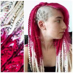 Merm in her woolies made by me :) #dreads #dreadlocks #boho #hippie #tribal #bohemian #rave #punk #girl #head #hairstyle #pink #magenta #alternative #woolies