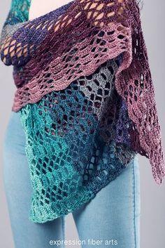 Succulent Garden Crochet Shawl Pattern by expression fiber arts
