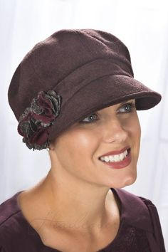 Great looking newsboy cap for women with hair loss due to cancer or chemotherapy.