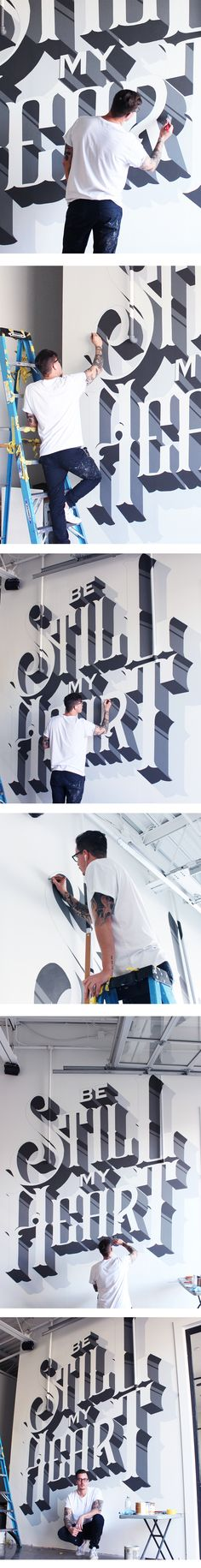 Custom typographic mural designed and painted for Yongehurst Distillery in Toronto