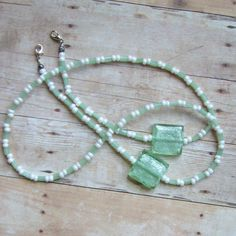 Handmade beaded eyeglass chain with czech glass & foil focal beads @angiesmusings