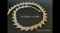 Beautiful Beaded Necklace or Anklet..( Herringbone Stitch)