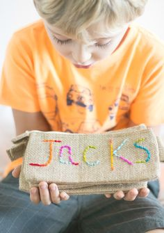 Kid Embroidered Pencil Pouch! These would make an awesome homemade gift!