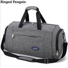रिंग पेंगुइन पुरुषों की यात्रा थैला सप्ताहांत सामान बैग लेना पुरुषों के सामान बैगेज बैग रात भर निविड़ अंधकार ग्रे